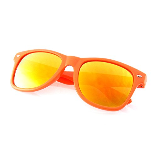 Emblem Eyewear - Premium Horn Rimmed Style Sunglasses (Mirrored Lens | Orange, - Sunglasses Mirrored Orange