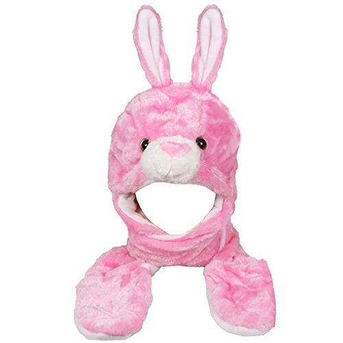 Silver Fever Plush Soft Animal Beanie Hat with Built-in Earmuffs, Scarf, Gloves (Pink (Pink Ski Bunny)