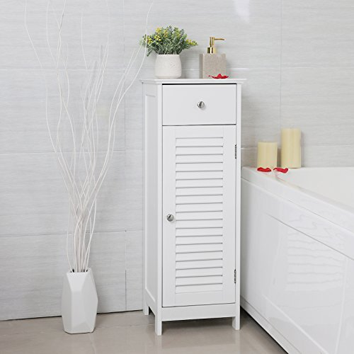 SONGMICS Bathroom Floor Cabinet Storage Organizer Set with Drawer and Single Shutter Door Wooden White UBBC43WT by SONGMICS (Image #2)