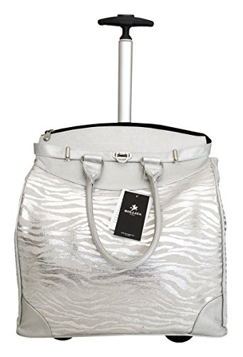 "19"" Computer/laptop Bag Tote Duffel Rolling Wheel Padded Case Silver Zebra"