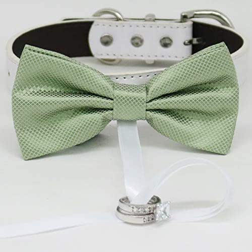 Sage green wedding Sage green bow tie dog collar Puppy bow tie Black Gray Brown Ivory Champagne Copper Gold or Green Leather dog collar