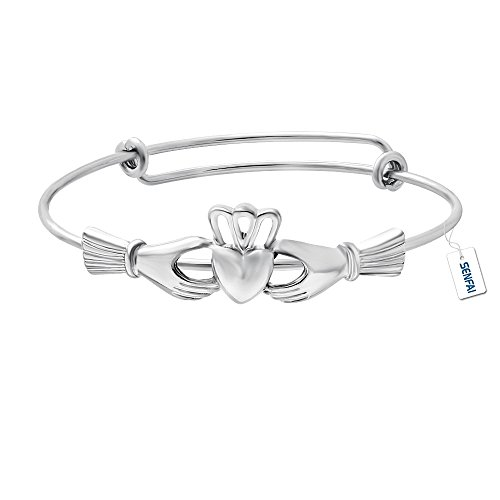 SENFAI The Claddagh Adjustable Copper Female Bracelet & Bangle (silver) (Silver Bracelets Claddagh)