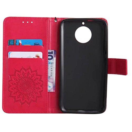 YHUISEN Diseño de la impresión de la flor del sol Caja de cuero del tirón de la PU del tirón de la PU con la ranura para tarjeta / el soporte para Motorola Moto G5s ( Color : Green ) Red