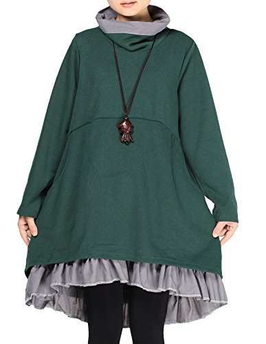 Mordenmiss Women\'s New Turtle Neckline Two Layers Hi-low Hem