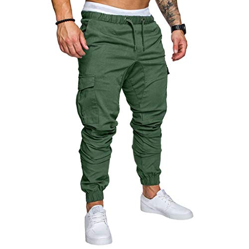 ✦◆HebeTop✦◆ Mens Athletic Workout Sweatpants Casual Trousers with Cargo Pockets Green (Bbq Force Apron Air)