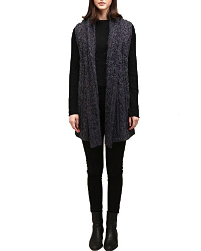 Look by M Women's Draped Cable Knit Shawl Vest (Navy)