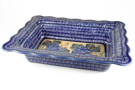Polish Pottery Grapes Rectangular Serving Dish by Zaklady