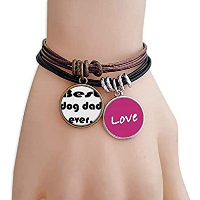 FerryLife Best Dog Dad Ever Festival Quote Love Bracelet Leather Rope Wristband Couple Set Estimated Price £9.99 -