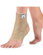 Actesso Elastische enkelbandage met wikkelband, voetbandage voor verrekkingen, verstuikingen en sport voetgewrichtsbandage