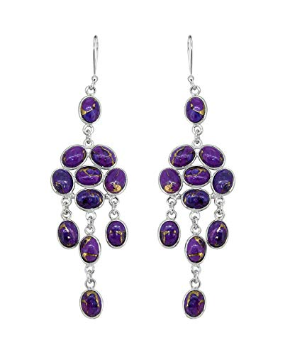 (YoTreasure Purple Copper Turquoise 925 Sterling Silver Long Dangle Earrings 4