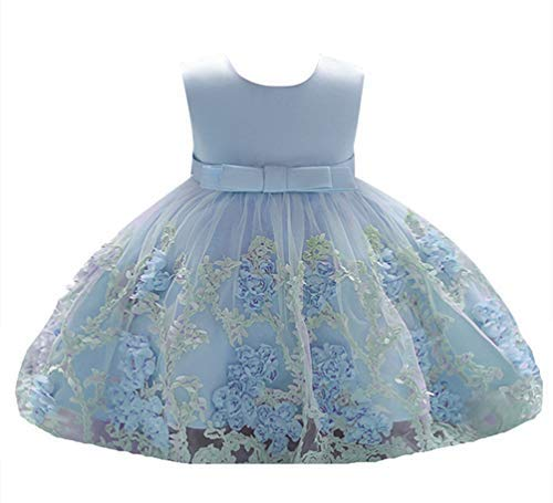 Mugoer Baby Girl Dresses Toddler Pageant Wedding Party Formal Easter Dress Blue 6-12 M ()
