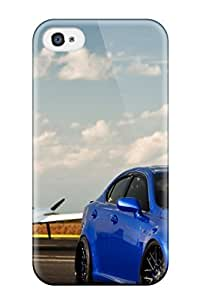 Iphone 4/4s Hard Back With Bumper Silicone Gel Tpu Case Cover Blue Lexus At The Airport