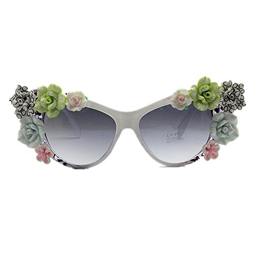 hecha de blanco del a señora Gafas del de playa de sol la de Flor marco de para mujer de Gafas protección la UL color mano la sol de sol del la de Gafas gato polímero arcilla sol Gafas de ojos los del 6pw0q1xB
