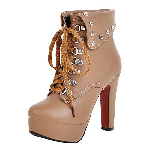 7de3e8b32eb3e4 YE Damen Ankle Boots Blockabsatz High Heels Gefütterte Stiefeletten Plateau  mit Schnürsenkel und Nieten Warm Modern