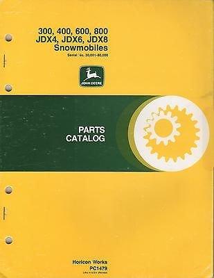 - 1975-1977 JOHN DEERE JDX4,JDX6,JDX8 SNOWMOBILE PARTS MANUAL PC-1479