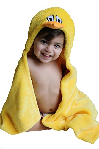 Premium Baby Hooded Blanket Gift Set in Yellow. Cute Duck is the Hood, Super Soft and Gentle for Baby Skin. Generous 30 Inches Long by 36 Inches Wide. Washcloth and Baby Bib In Yellow Included.. by Baby Unique