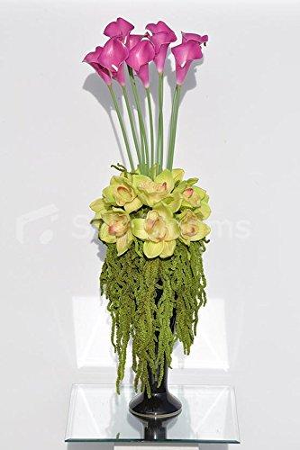 Alto Color Rosa Alcatraces Y Conservada Amaranthus Arreglo