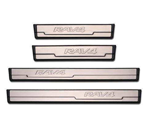 OLIKE For Toyota RAV4 2014 15 16 2017 Fashion Style Stainless Steel Door Sill Scuff Plate Guard Sills Protector Trim