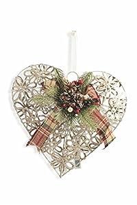 Galileo Casa Navidad Corazón con 15LED, Hierro, Dorado, 12x 30x 30cm