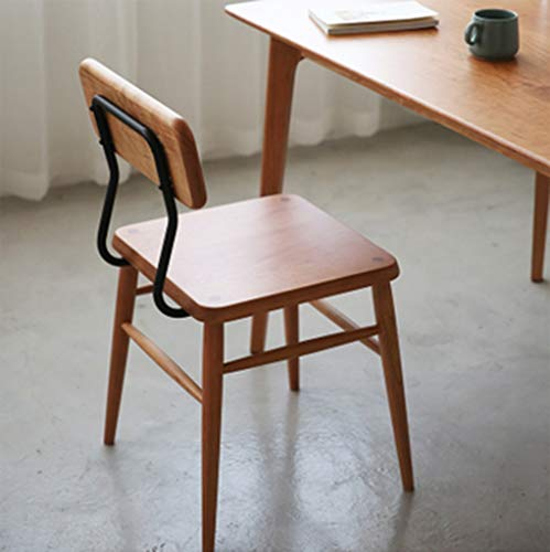 Spindle High Back Bar Stool - XINGPING Original Chair Nordic Wood Cherry Wood Black Walnut Cafe Wrought Iron Enamel (Color : Cherry Wood)