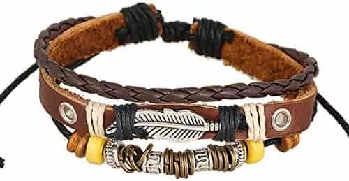 ba0fd0d7e5 Yaoyodd19 Vintage Men Leaf Buckle Multilayer Braided Rope Bracelet  Wristband Jewelry Gift - BrownBracelet for Women