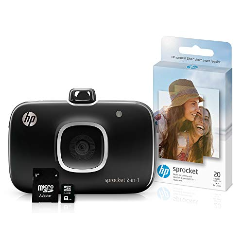- HP Sprocket 2-in-1 Portable Photo Printer & Instant Camera Bundle with 8GB MicroSD Card and Zink Photo Paper – Black (5MS96A)