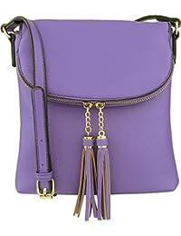 B BRENTANO - Bolso bandolera vegano con solapa y detalles de borla, Ultra-violet, Talla unica