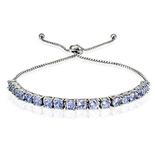 Sterling Silver 3mm Tanzanite Round Adjustable Pull-string Bolo Tennis Bracelet