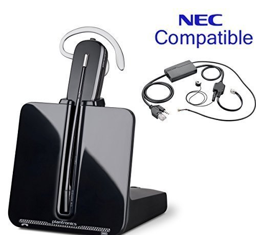 NEC Compatible Plantronics Cordless Headset Bundle | For NEC Univerge IP phones: DT330, DT430, DT730, DT750, DT830, DT850 | Includes Remote Answering Kit | by Global Teck