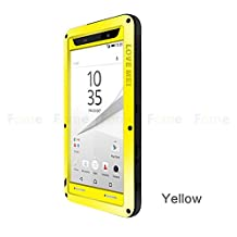 FOME Xperia Z3 Case, Military Heavy Aluminum Metal Armor Tank Gorilla Glass Shockproof Rainproof Water Resistant Weatherproof Dust/Dirt/Snow Proof Anti-smudge Resistant Acoustic Port Protection Cover Case For Sony Xperia Z3 L55(Yellow) + FOME Gift