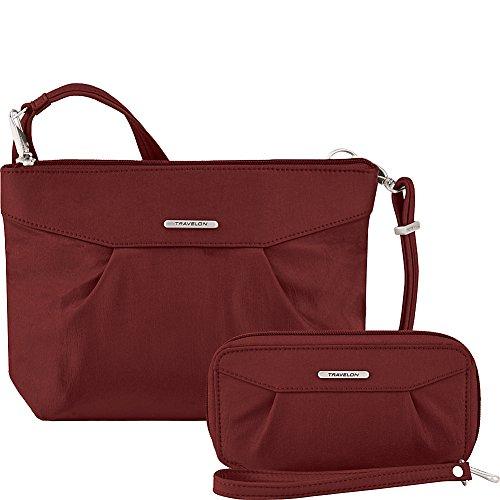 Travelon Anti-Theft Crossbody and RFID Clutch - Small Handbag & Wallet Set for Travel & Everyday - (Wine/Gray Interior)