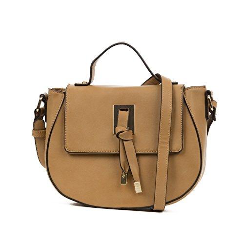 Handbag Republic Women's Light Weight Faux Leather Messenger Style Bag For (Tan Messenger Style Handbag)