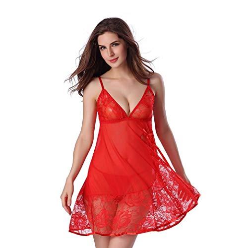 Plunge Bra Sexy Glamour (TWGONE Women Lace Sexy Nightwear Underwear Babydoll Erotic Sleepwear Dress+G-String Set(M,Red))