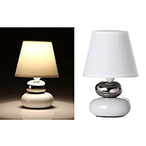 dcasa - Lámpara para mesita de noche moderna plata-blanco de cerámica
