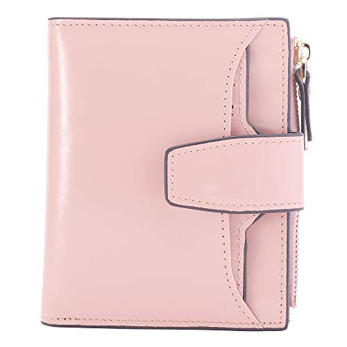 Thin Flat Credit Card Case - AINIMOER Women's RFID Blocking Leather Small Compact Bi-fold Zipper Pocket Wallet Card Case Purse(Waxed Pink)
