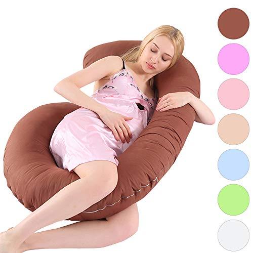 MINGPINHUIUS Pregnancy Body Pillow with Pillowcase, Pregnancy Pillow and Maternity Pillow for Pregnant Women Sleeping 51″ Fuller Cotton C Shaped (Brown)