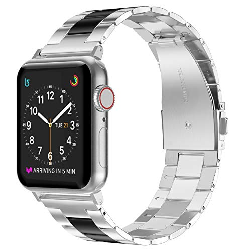 Wearlizer Stainless Steel Compatible with Apple Watch Band 38mm 42mm Women Men,Ultra-Thin Lightweight Color Matching Replacement Compatible for iWatch Bands Series 4 3 2 1 (42mm 44mm, Black+Silver)