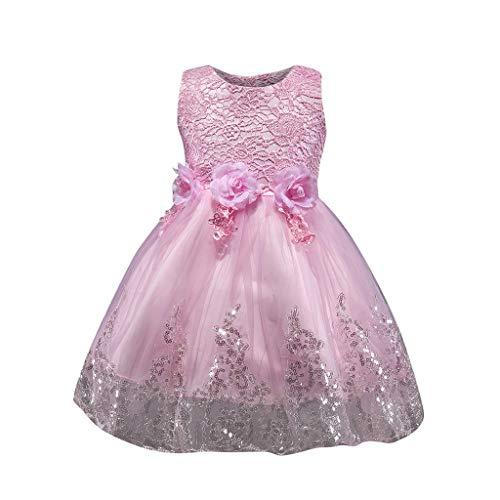 (DORIC Baby Girls Sleeveless Flower Floral Sequin Dress Lace Dresses Formal Dress Pink)