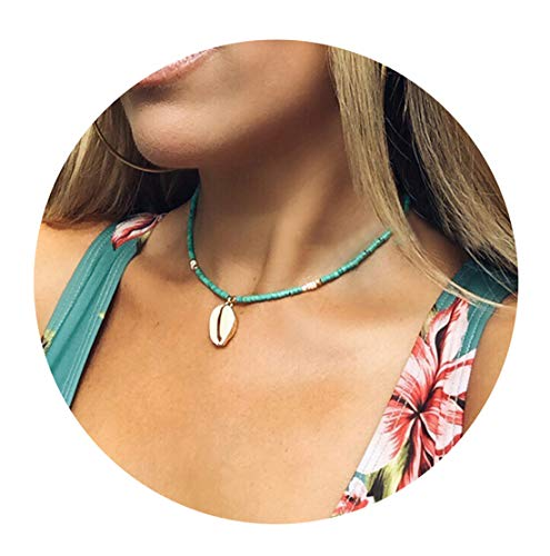 Nager Shell Cowrie Beach Necklace Natural Shell and Wood Beads Bohemian for Women Girl (Style 11) ()
