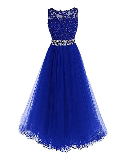 Blue Party Dresses Dresses BessDress Lace BD284 Royal Formal Tulle Evening Long Open Back q78SCzT