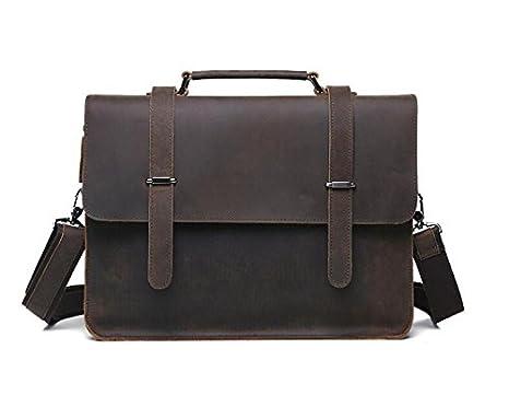 925e6a1fdc ZZ Business-man bag leather men s Polished leather laptop Briefcase man  baodan shoulder bag  Amazon.ca  Luggage   Bags