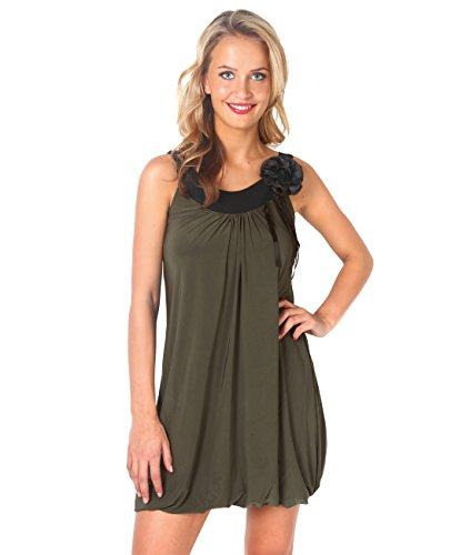 KRISP Contrast Bubble Tunic Dress (Khaki, US 6),[3565-KHA-10] ()