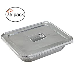 TigerChef TC-20547 Durable Half Size Deep Aluminum Foil Steam Table Pans with Aluminum Foil Lids and Recipe Card, Multi-Purpose Pans with Covers, 9\