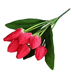 """Cat's collections 2Pack Artificial Tulip Flowers 14.5"""" for Party Home Wedding Decoration ... (Rose red) 1"""
