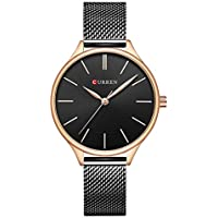 Curren Women's Quartz Watch, Ultra Thin Analog Quartz Stainless Steel Rose-Gold/Slive Wrist Watch, Simple Casual Wrist Watch for Women 9024, Waterproof Women Watch