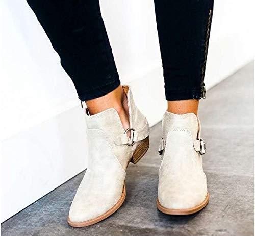 Stivali Junkai grande codice di stivali moda donna PU fibbia fibbia fibbia testa rotonda lato vuoto corto stivali antiscivolo con tacco pelle stivali. FORTY b8a4b2