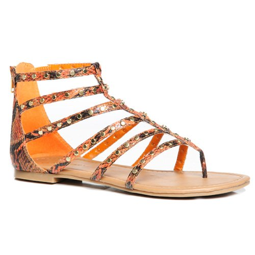 Womens Studded Gladiator Design (Classified KAMER Women's Studded Gladiator Sandals (7.5, Orange Python))