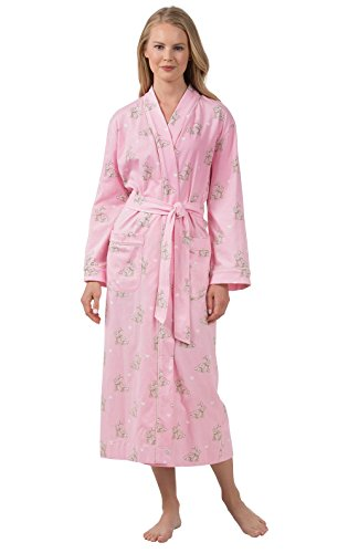 (PajamaGram Printed Women's Robes Long - Soft Cotton Knit, Pink, XS/S, 2-6)