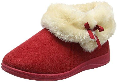 Dunlop fausse en rouge Bottes d'hiver fourrure femme col pour 6 Bessie à pantoufles T4xHw6rqTZ