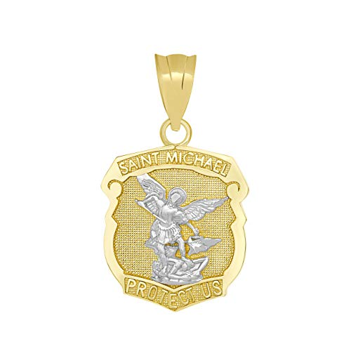 Solid 14k Two-Tone Gold Saint Michael Shield Medal Protection Charm Pendant (Medal Communion Gold)